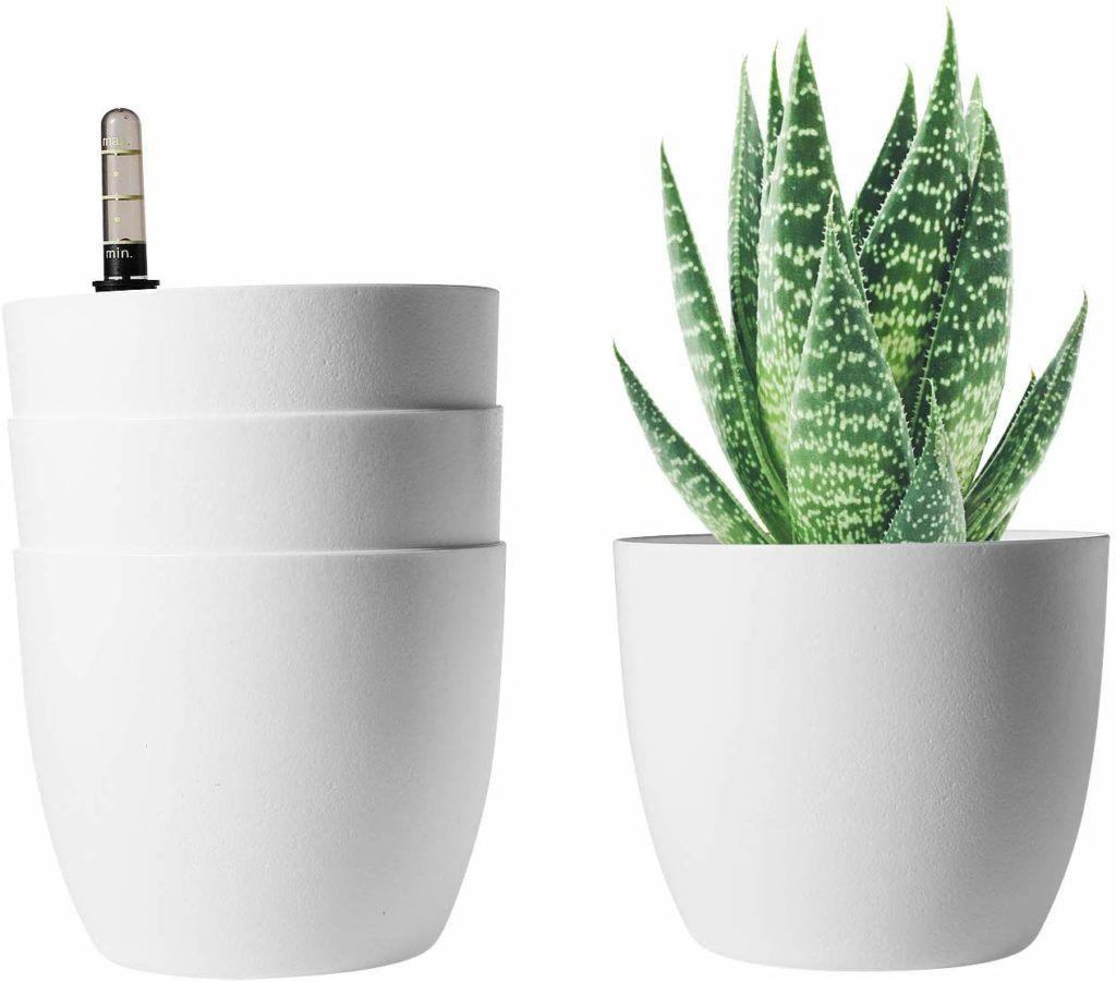 T4U 6 Inch Plastic Self Watering Planter product image front view