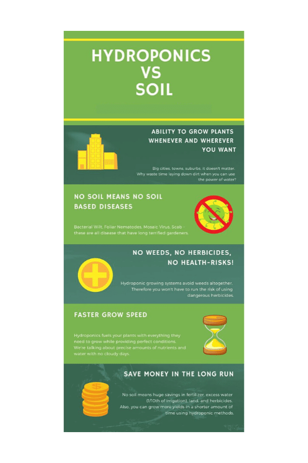 hydroponics vs soil benefits infograph